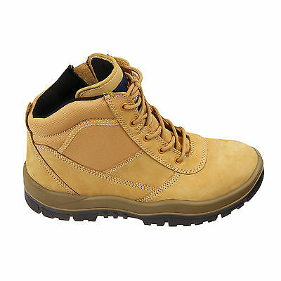 84303320e79 MONGREL WORK BOOTS Steel Toe Safety Zip Sider Lace Up Ankle Wheat Working  261050