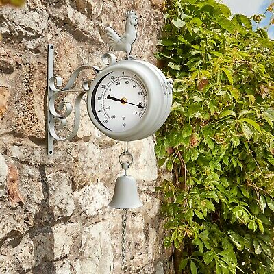 Wyegate Garden Station Clock Wall Mount Rooster Outdoor Thermometer Double Sided 8