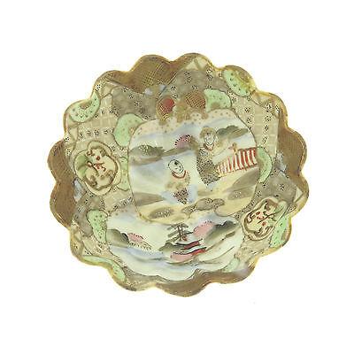 "Antique Japanese Kutani Hand Painted Porcelain Bowls 6"" and 3"" Set of 4 7"