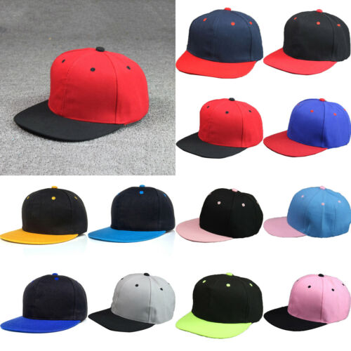 b46e0d0cc8f Baseball Cap Mens Plain Solid Blank Snapback Hat Classic Black Hip Hop  Style 6 6 of 12 ...