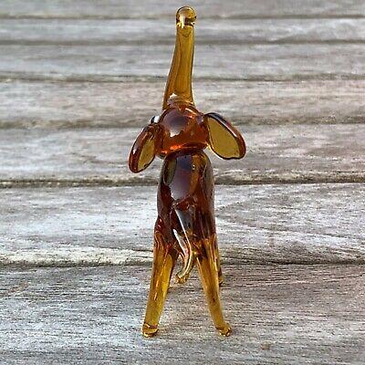 "VTG Italian Murano Art Glass Miniature Animal Figurine Amber Elephant 2 5/8"" 3"