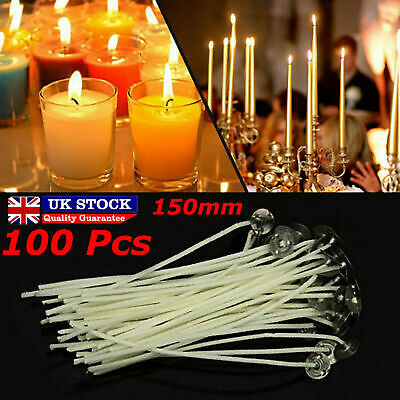 100 x 15cm Long Pre Waxed Wicks For Home Candle Making Cotton With Sustainers UK 6