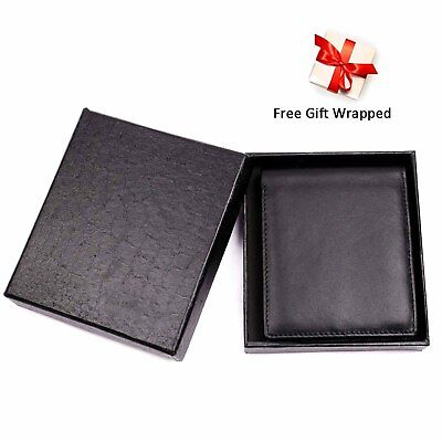 Trifold Wallet RFID BLACK GENUINE LEATHER LUXURY BIFOLD SLIM MENS ID NEW 6