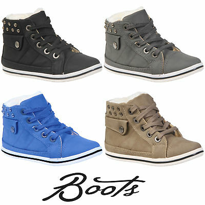 Kids Girls Boys Faux Fur Winter Warm Lace Up Ankle Boots Trainers Shoes Size New 2