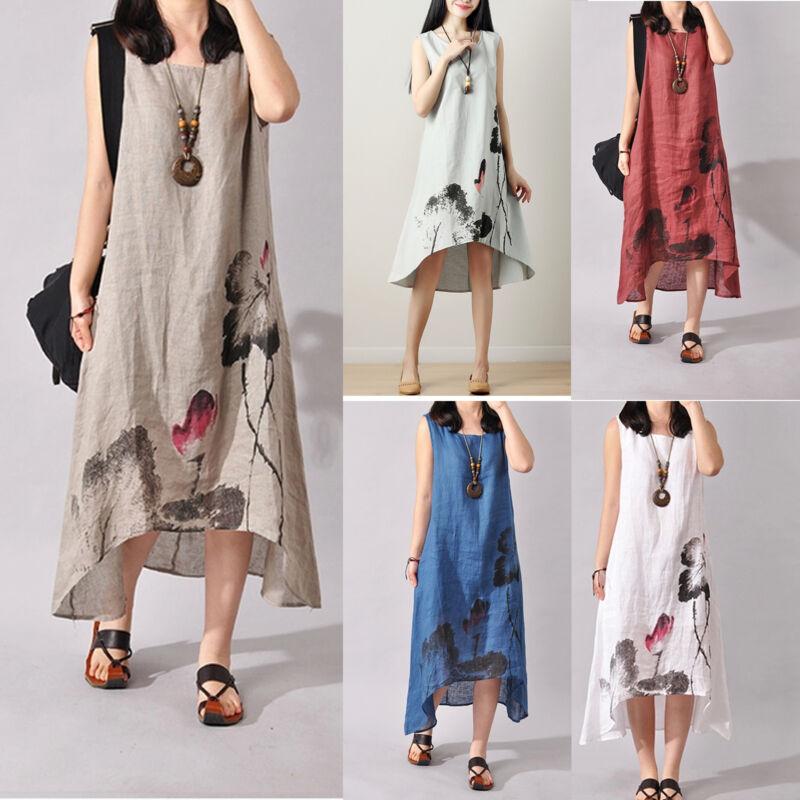 Plus Women Summer Baggy Cotton Linen Casual Loose Long Maxi Dress Boho Kaftan UK 3