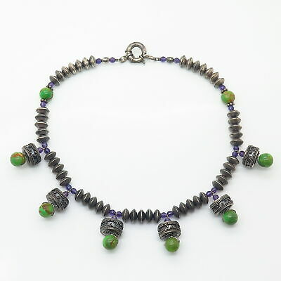 """925 Sterling Vintage Turquoise & Amethyst Ethnic Design Bead Chain Necklace 15"""" 4"""