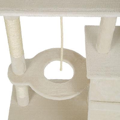 Arbre à chat xxl griffoir grattoir geant avec 2 grottes beige