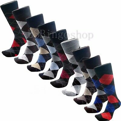 12 Pairs New Cotton Men Lords Argyle Style Dress Socks Size 10-13 Multi Color 4