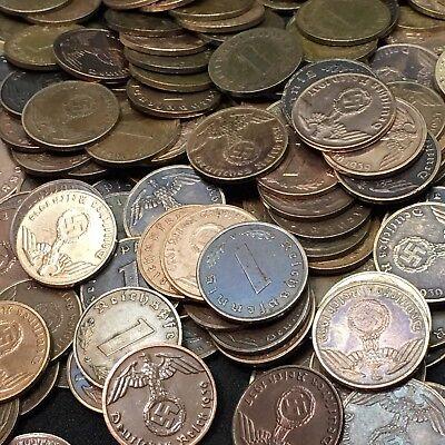 50 Coin Lot Rare WW2 German 1 RP Reichspfennig 3rd Reich Bronze Nazi Coins 4