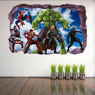 Avengers Super Hero Wall Stickers Mural Decal Hulk Spiderman Iron Man Thor EA81 3