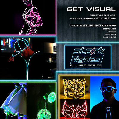 Thicker Neon LED Light Glow EL Wire + Control String Strip Rope Tube Decor Party