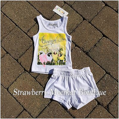 New Girls French Designer Complices Tank Outfit Vest Top Shorts Age 2 3 4 5 6 8 5