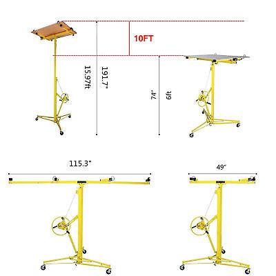 Yellow 16-19' Drywall Panel Lifter Hoist Jack Rolling Caster Lockable DIY Tool 6