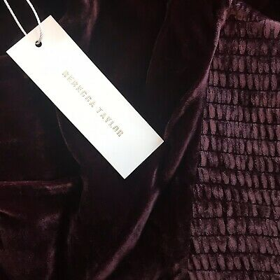 B46 Rebecca Taylor Sleeveless Velvet Ruched Bordeaux Jumpsuit Size 12 $595 NEW 5