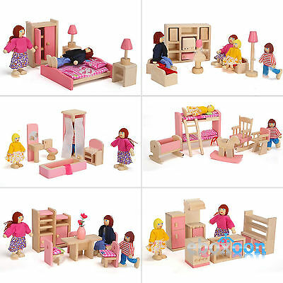 Wooden Furniture Room Set Dolls House Family Miniature Pretend Play Kids Toys 4