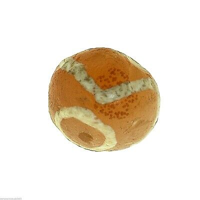 (0627) Yellow Carnelian Bead, Bleached,  China - Tibet.  古董蚀刻玛瑙珠 7