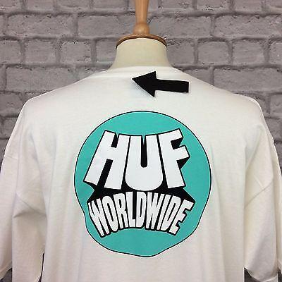 HUF RHYTHM MENS WHITE T-SHIRT TEE TOP TSHIRT SKATE SHORT SLEEVE RRP £35