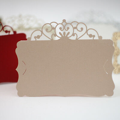 25pcs Gold Laser Cut Crown Wedding Dinner Event Name Place