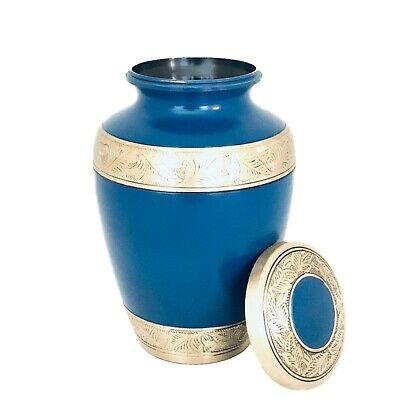 Well Lived® Blue and Brass Adult Cremation Urn for human ashes 2