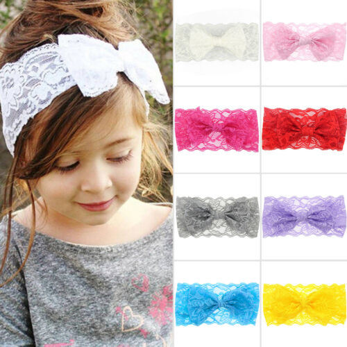 Newborn Kids Girls Headband Ribbon Elastic Baby Headdress Hair Band Bow Knot 5