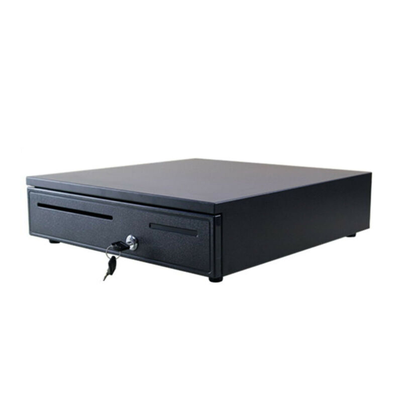 12V/24V POS Cash Drawer Register 5 Bills 5 Coins Removable Tray Till Cash Box