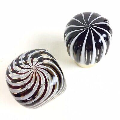 Vtg Italian Murano Glass Shower Sink Vanity Faucet Knobs Decorative Black White 4