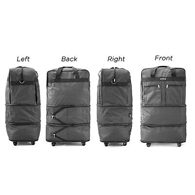 """30"""" Rolling Wheeled Duffel Bag Spinner Suitcase Luggage Expandable in Black 3"""