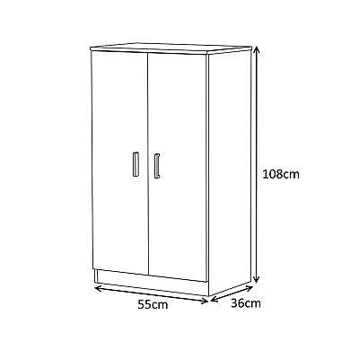 Bellini Hallway 2 Door Shoe Storage Cabinet Unit 7 Shelves