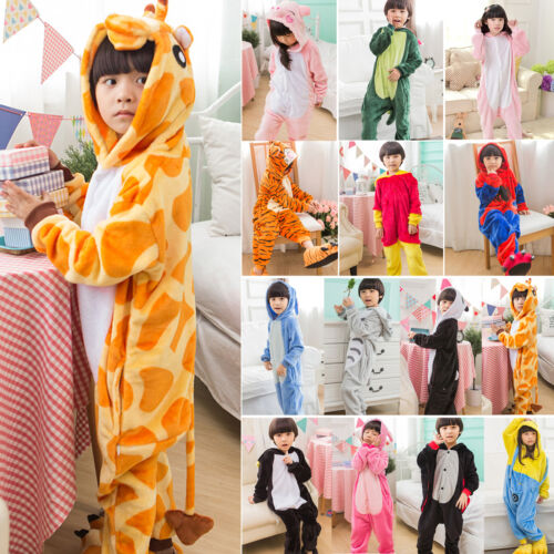 Kids Girls Boys Unicorn Animals Kigurumi Cosplay Costume PJ's Sleepwear Overalls 9