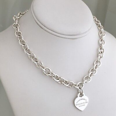 5101bce82 ... Please Return to Tiffany & Co Sterling Silver New York 925 Heart Tag  Necklace 2