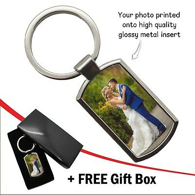 Personalised Photo Keyring Custom Birthday Wedding Image Logo Gift FREE Gift Box 5