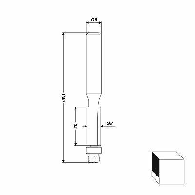 HM Fräser Schaft 8 mm (Bündigfräser) zweischneidig Fräsbreite 20 mm