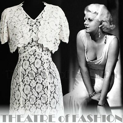 DRESS 30s WEDDING LACE JACKET 20s VINTAGE 40s GATSBY DECO CROCHET GODDESS ICON 6