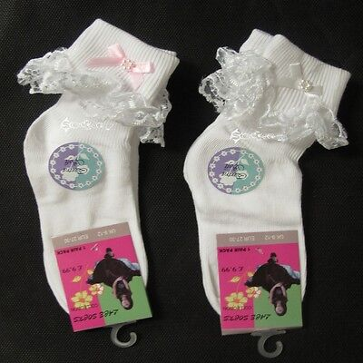 6 / 12 Pairs Girls Frilly Lace Ankle Socks with Bow School Shoe Sizes 0-6 2