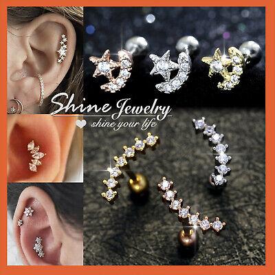 Opal Gem Ear Climber Helix Tragus Cartilage Ring Bar Stud Piercing Post Earring 2