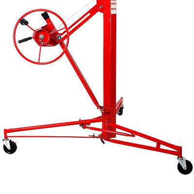 NEW 11' Drywall Lifter Panel Hoist Jack Rolling Caster Construction Lockable Red 8