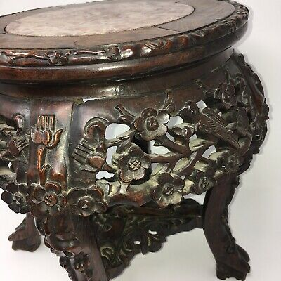c1860 Carved Rosewood Plant Stand Marble Top Antique Wood Table Birds Flowers 8