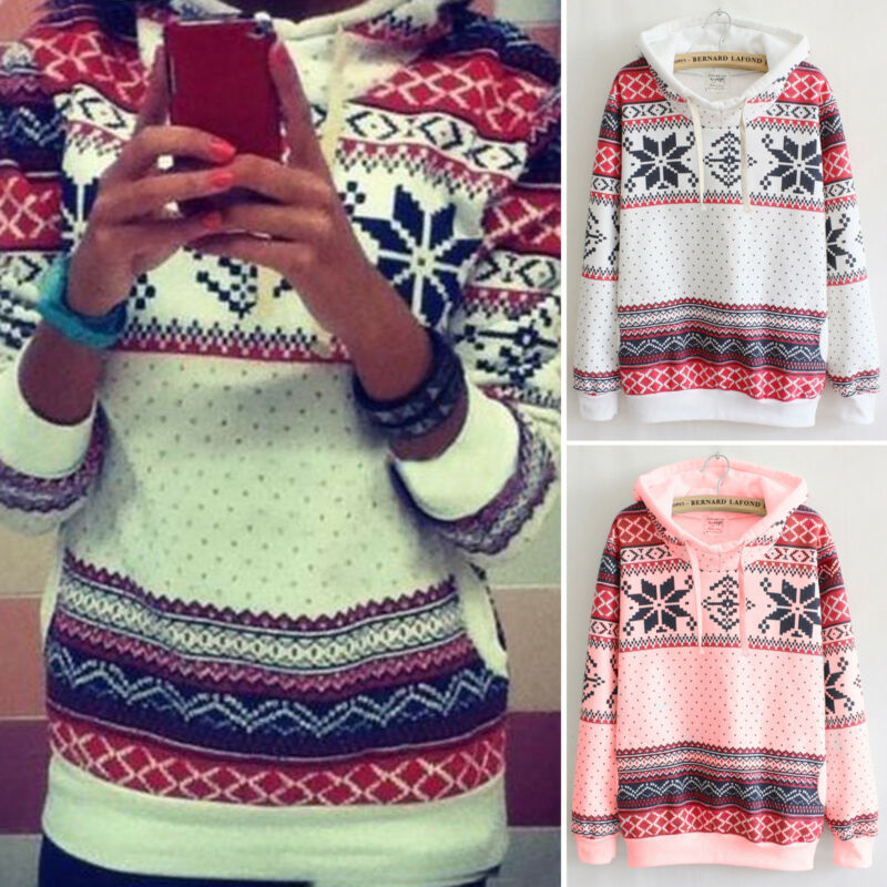 XMAS Women Sweatshirt Sweater Jumper Girls Christmas Hoodie Pullover Tops Blouse 5