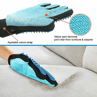 [2-in-1 Pet Glove] Soft Rubber Grooming Brush Tool + Furniture Pet Hair Remover 4