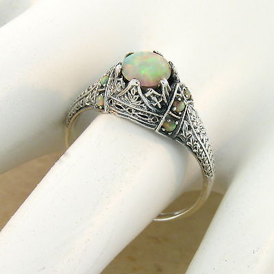 WHITE LAB OPAL ANTIQUE VICTORIAN DESIGN .925 STERLING SILVER RING #618