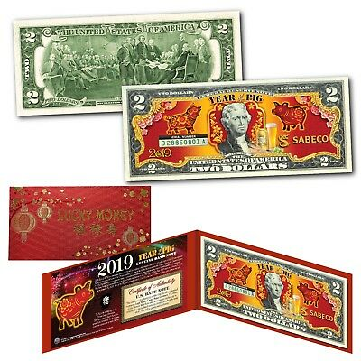 2019 CNY Chinese Lunar New YEAR OF THE PIG Genuine U.S. $2 Bill - SABECO