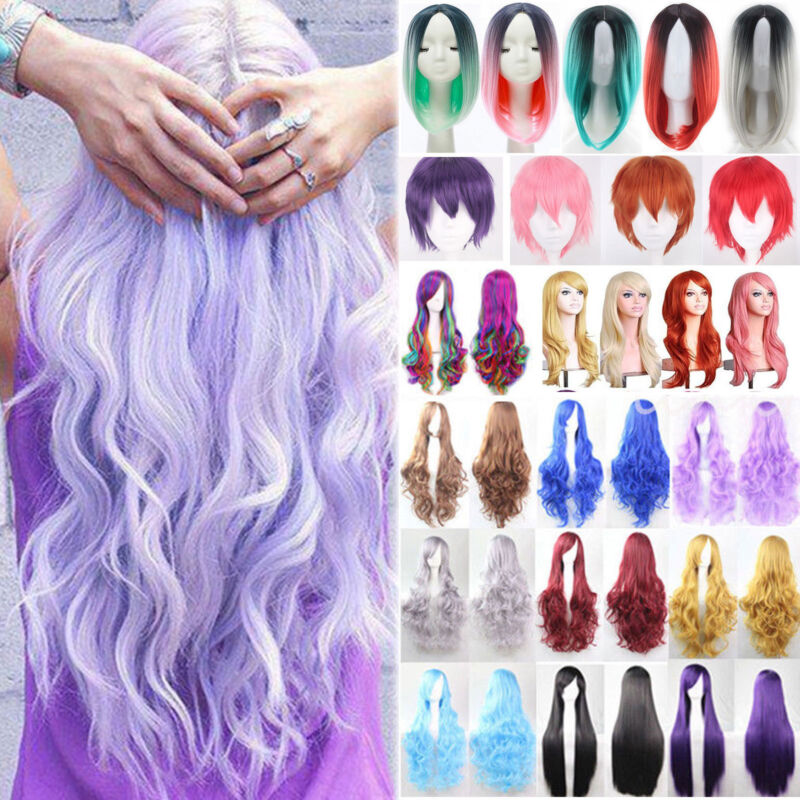 Women Girl Long Hair Wig Straight Curly Wavy Anime Cosplay Fancy Party Full Wigs 2