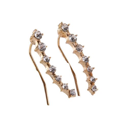Charm Crystal 925 Sterling Silver Stud Hoop Earrings Fashion Women UK 4