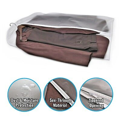 """40"""" PEVA Hanging Translucent Garment Bags with Zipper for Travel Storage 5 Pack 2"""