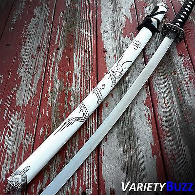 "40"" White Dragon SAMURAI NINJA Bushido KATANA Japanese Sword Carbon Steel Blade 2"