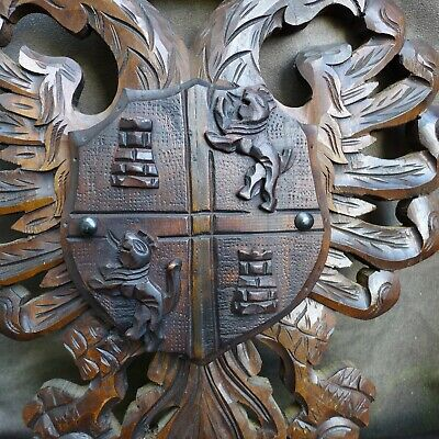 Nice Antique wood carving of a cote of arms with double-head eagle Ca 1900 2