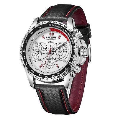 MEGIR Men's Stainless Steel Analog Waterproof Sports Quartz Military Wrist Watch 7