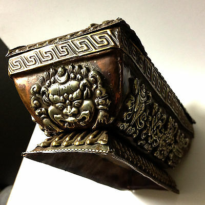 Antique Tibetan Art Box + Lid Metal Symbol Medalion Traditional RARE Collectable 6