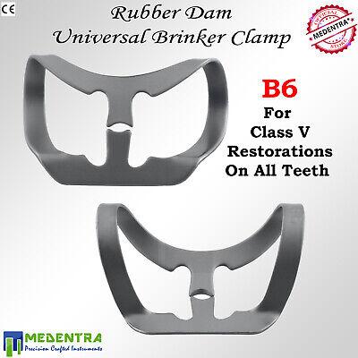 MEDENTRA 6PCS Dental Rubber Dam Clamps Brinker Clamp Tissue Premolar Clamp Molar 7
