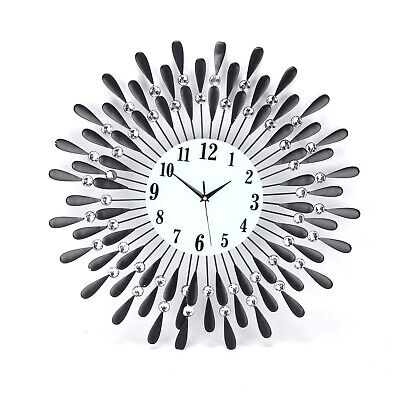 60Cm Clear Diamante Black Sunflower Metal Spiked Wall Clock Beaded Jeweled 2